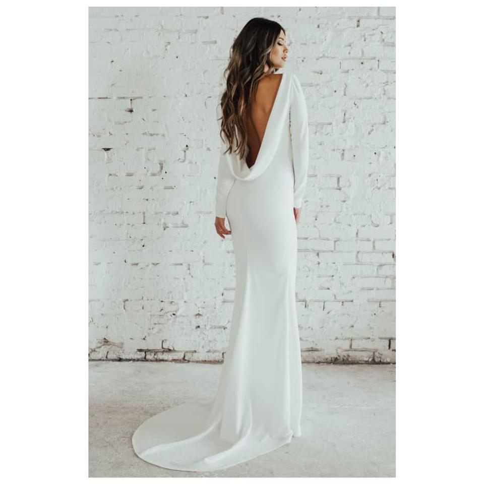 Cowl Neck Back Wedding Dresses: Wasson Cowl Neck Long Sleeve Crepe Gown Formal Wedding