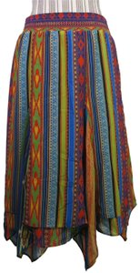 Soft Surroundings Tiered Night Out Date Night Casual Boho Maxi Skirt Multi Color