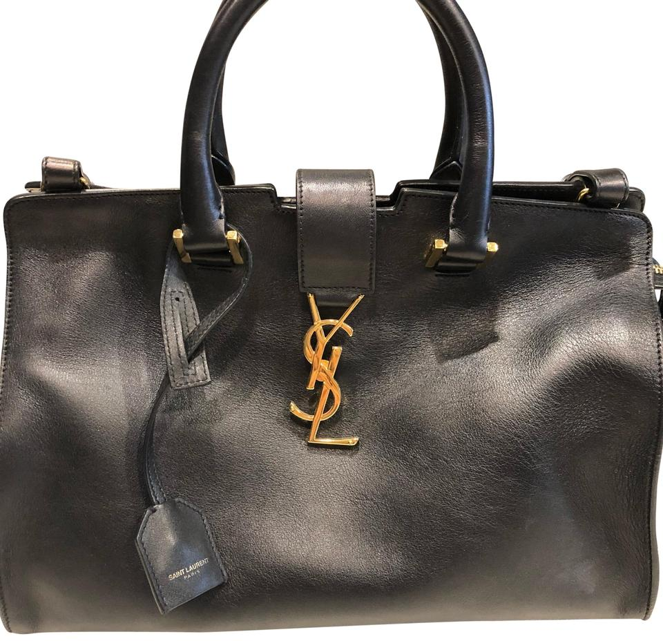 25c82f7d Saint Laurent Top Handle Ysl Bo Monogramme Sl Black with Gold Hardware  Leather Shoulder Bag 43% off retail