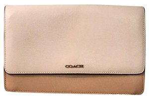 Coach Chain Patent Leather White and Tan Colorblock Clutch