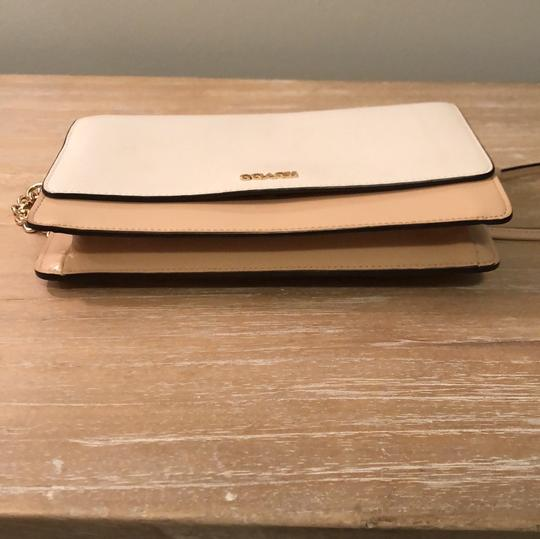 Coach Chain Patent Leather White and Tan Colorblock Clutch Image 1