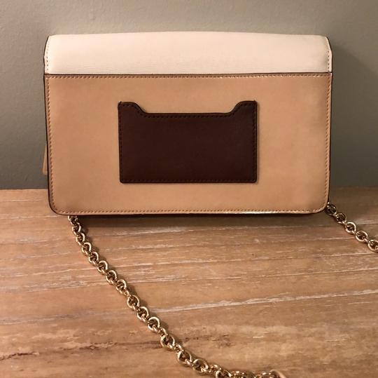 Coach Chain Patent Leather White and Tan Colorblock Clutch Image 2