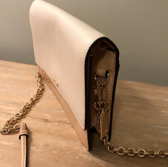 Coach Chain Patent Leather White and Tan Colorblock Clutch Image 3