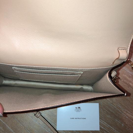 Coach Chain Patent Leather White and Tan Colorblock Clutch Image 5