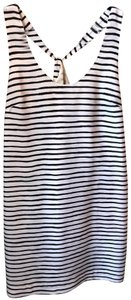 J.Crew short dress White and Black Striped Polyester on Tradesy