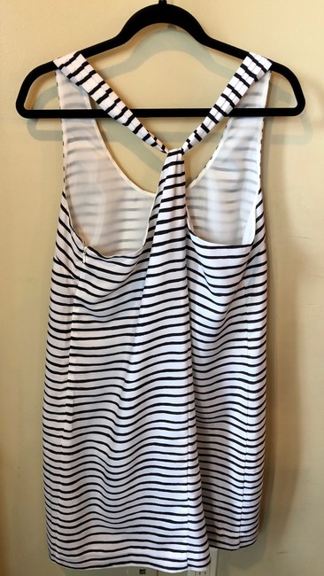 J.Crew short dress White and Black Striped Polyester on Tradesy Image 1