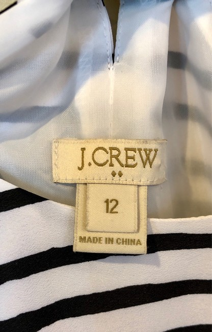 J.Crew short dress White and Black Striped Polyester on Tradesy Image 2
