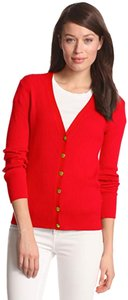 Anne Klein V-neck Signature Buttons Allover Ribbed Print Fitted Silhouette Gold Hardware Cardigan