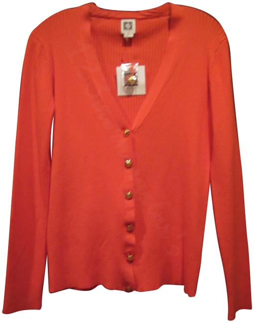 Anne Klein V-neck Signature Buttons Allover Ribbed Print Fitted Silhouette Gold Hardware Cardigan Image 1