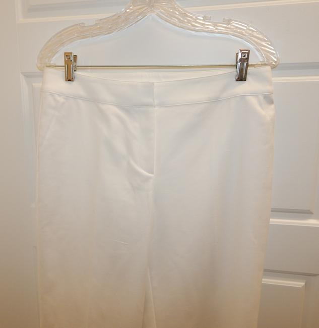 St. John Stretchy Flat Front Straight Pants White Image 4