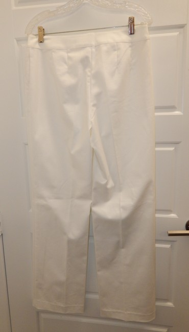 St. John Stretchy Flat Front Straight Pants White Image 5