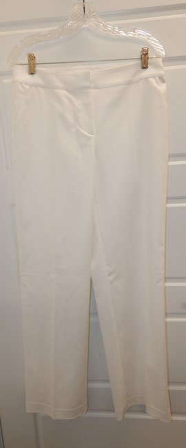 St. John Stretchy Flat Front Straight Pants White Image 8