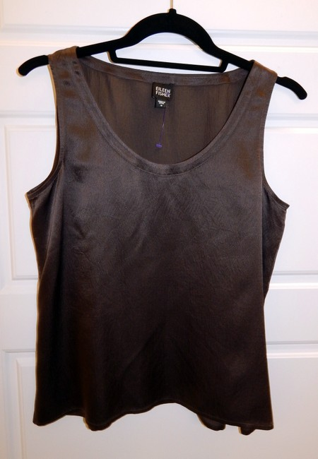 Eileen Fisher Silk Shell Top Brown Image 6