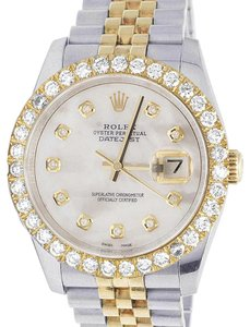 Rolex Mens Ladies 18K/ Steel Datejust 36MM 116233 MOP Dial Diamond 4.2 Ct
