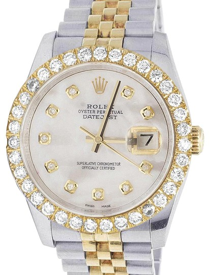 Rolex Mens Ladies 18K/ Steel Datejust 36MM 116233 MOP Dial Diamond 4.2 Ct Image 0