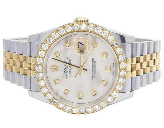 Rolex Mens Ladies 18K/ Steel Datejust 36MM 116233 MOP Dial Diamond 4.2 Ct Image 1