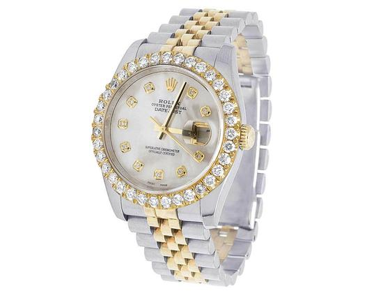 Rolex Mens Ladies 18K/ Steel Datejust 36MM 116233 MOP Dial Diamond 4.2 Ct Image 6