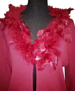 Lisa International Sweater Cardigan Feathers Top Red
