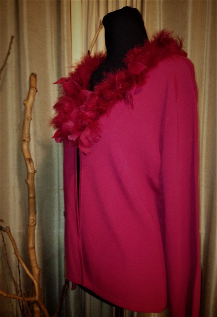 Lisa International Sweater Cardigan Feathers Top Red Image 1