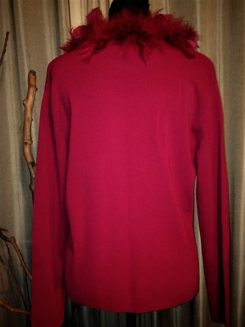 Lisa International Sweater Cardigan Feathers Top Red Image 2