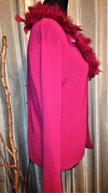 Lisa International Sweater Cardigan Feathers Top Red Image 3