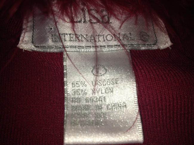 Lisa International Sweater Cardigan Feathers Top Red Image 5