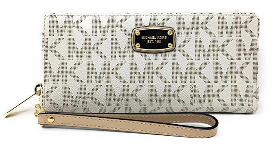 90979932c3207f Michael Kors Vanilla Women's Jet Set Zip Around Continental Wallet ...