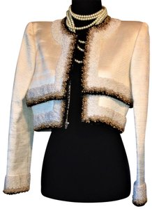 Mary McFadden Couture Limited Edition Beaded Off White / Black / Gold Blazer