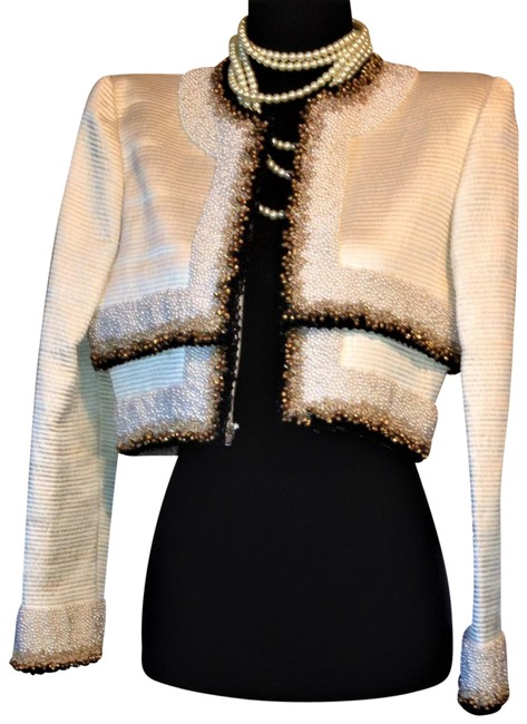Item - Off White / Black / Gold Couture Amazing Silk Night Out Crop Beaded & Bells Jacket Blazer Size 6 (S)