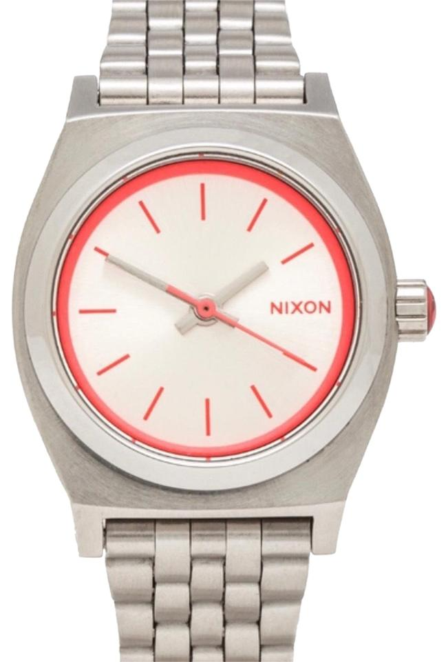32514dee8 Nixon Silver/Pink Ladies Small Time Teller Watch - Tradesy