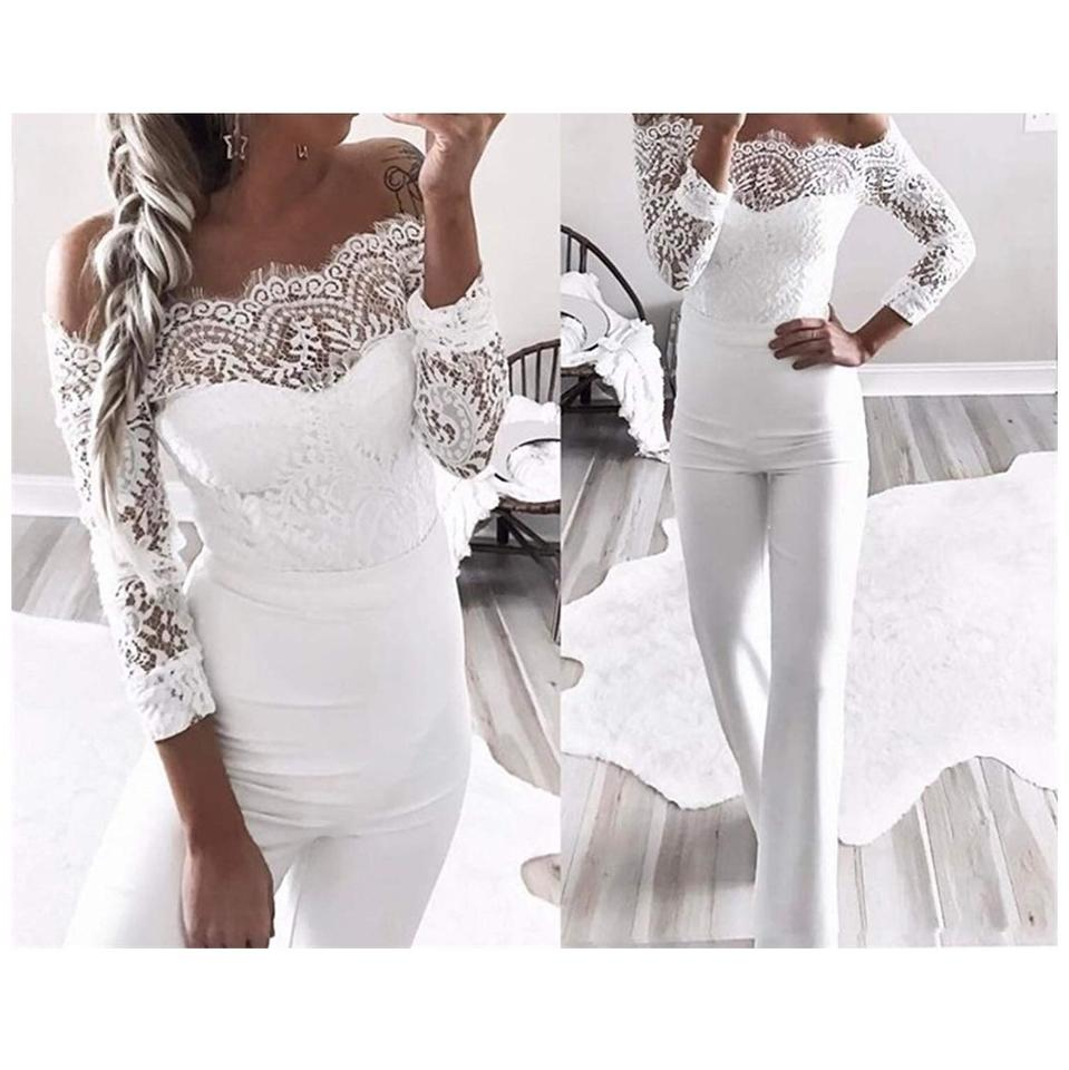 6490d9130a64 White Lace Off The Shoulder Romper Jumpsuit - Tradesy