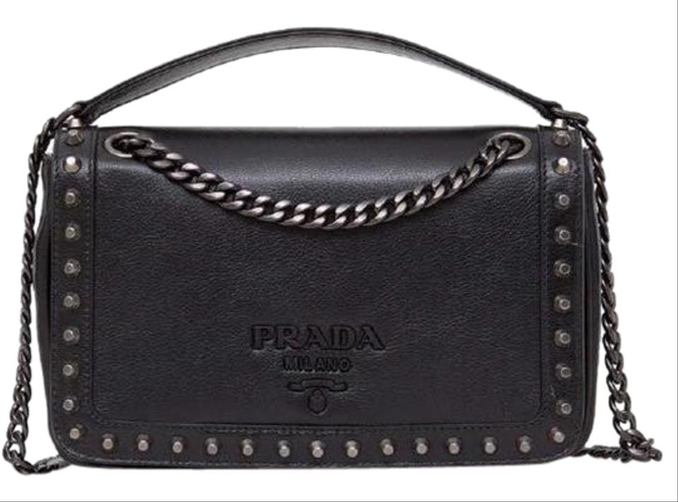 cdc5df48bc7f Prada Shoulder New 1bd147 Calf Cammeo Black Leather Cross Body Bag ...