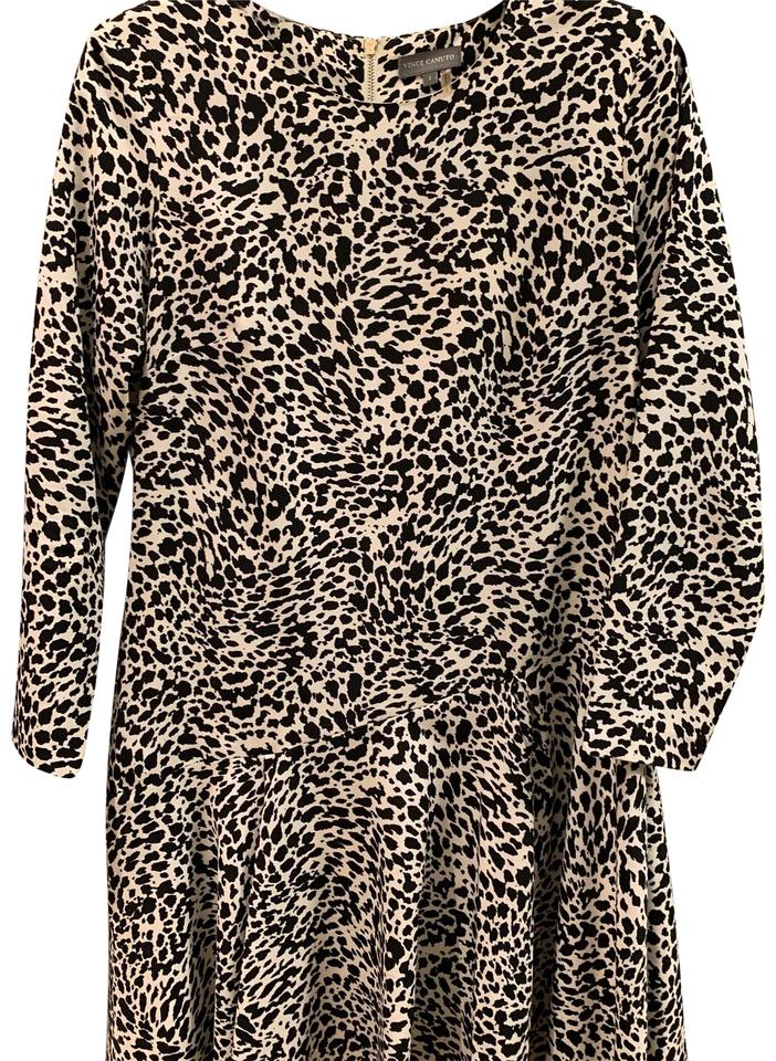 089e1d554d1 Vince Camuto Black and White Leopard Print Swing Mid-length Work ...
