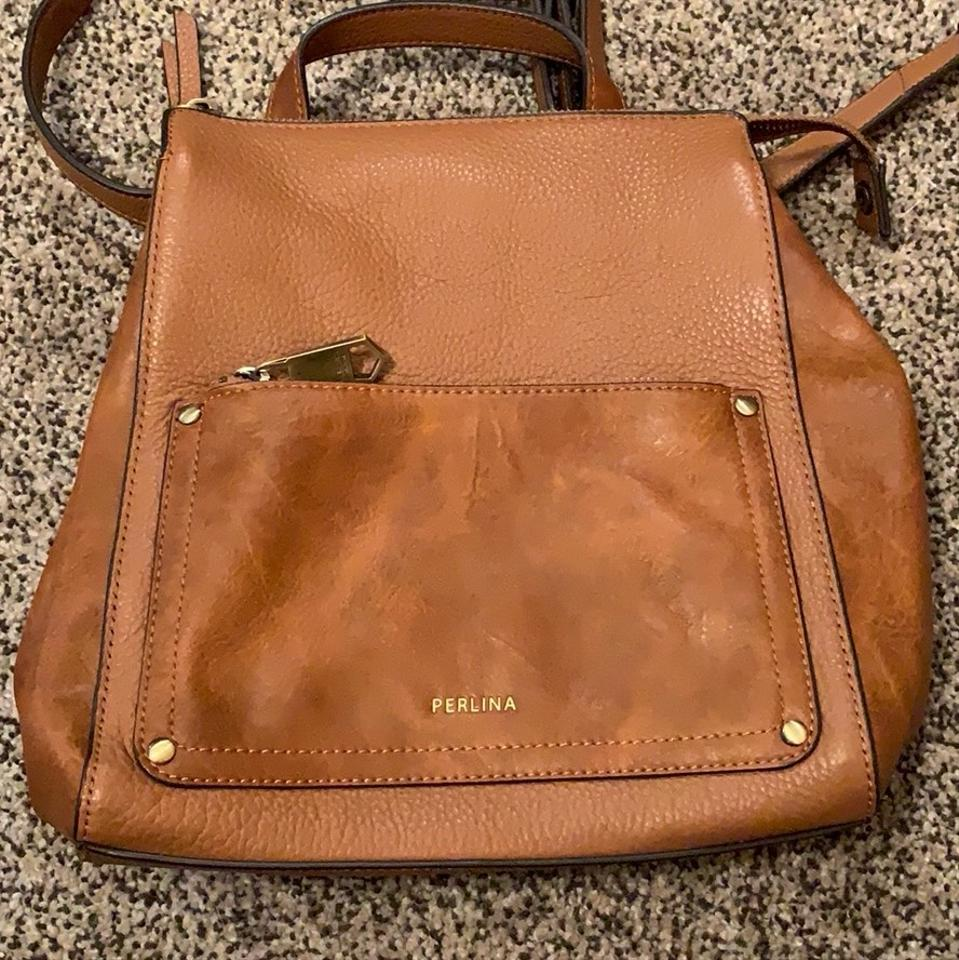 f64011d3262 Perlina Judi Convertible Cognac Leather Backpack 70% off retail