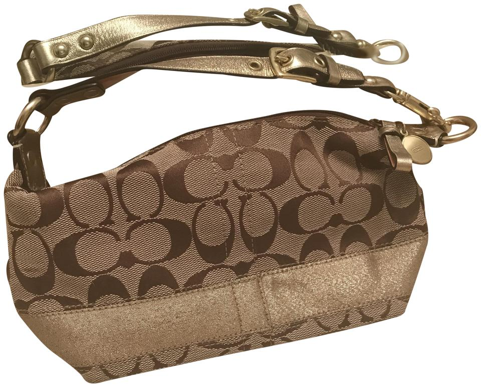 9b3a6602a2 Coach Vintage Signature Gold Stripe Pouch Hobo Cosmetic 40024 Khaki Canvas  and Leather Shoulder Bag