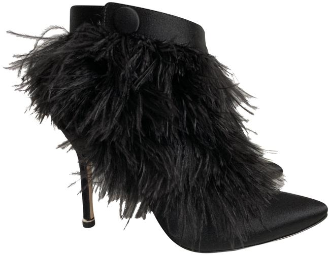 Item - Black Oterala Feather Satin Pointed Boots/Booties Size EU 37 (Approx. US 7) Regular (M, B)