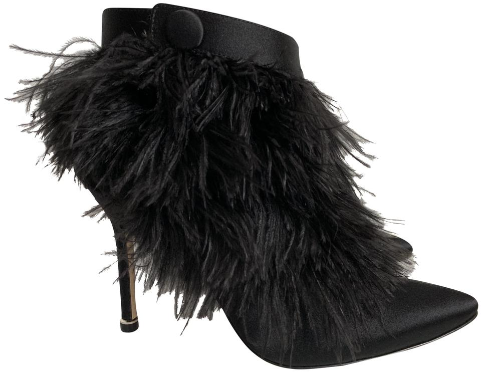 95a4fcf717c16 Manolo Blahnik Black Oterala Feather Satin Pointed Boots/Booties Size EU 37  (Approx. US 7) Regular (M, B) 41% off retail