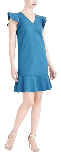 Item - Teal Ruffle Flutter Sleeve Short Work/Office Dress Size 6 (S)