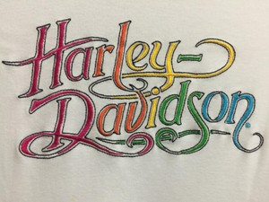Harley Davidson Soft Cotton Long Sleeves Scoop Neck Embroidered T Shirt White with Multi