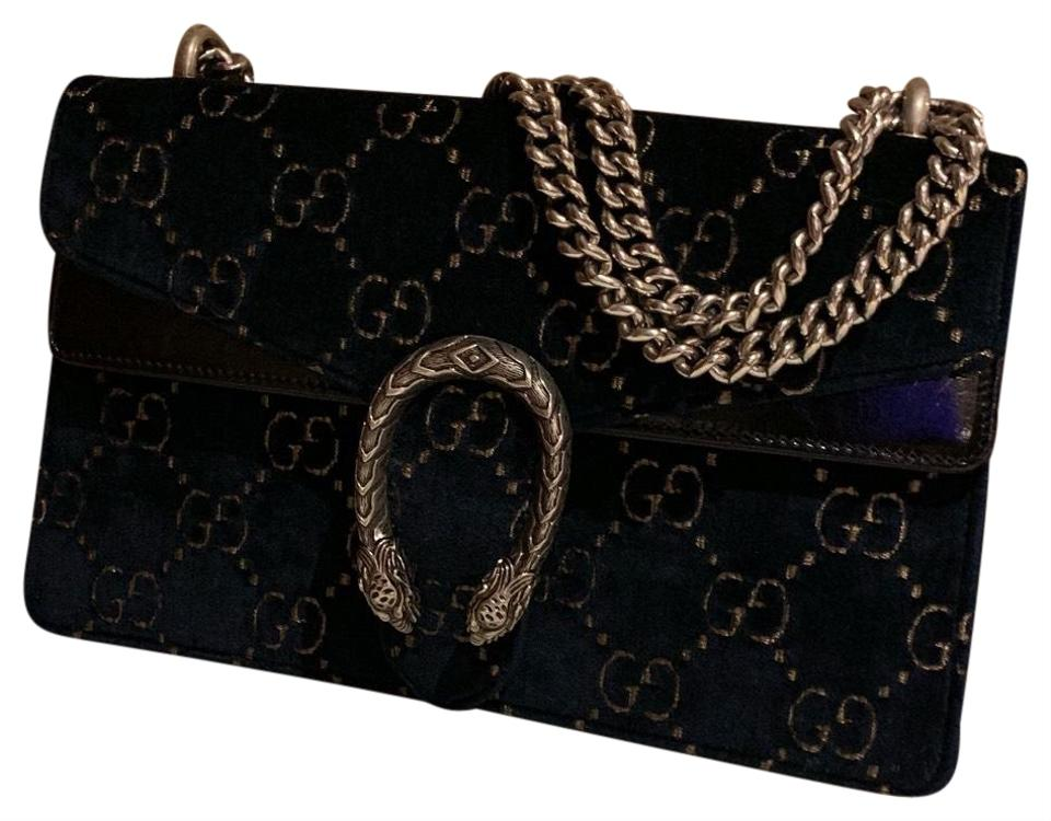 d46c91faa Gucci Dionysus Small Blue and Beige Gg Velvet with Black Patent Leather  Trim Shoulder Bag - Tradesy