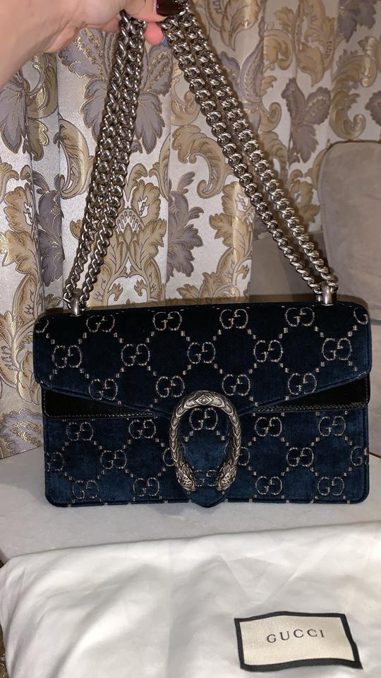a03552554d097e Gucci Dionysus Small Blue and Beige Gg Velvet with Black Patent Leather  Trim Shoulder Bag - Tradesy