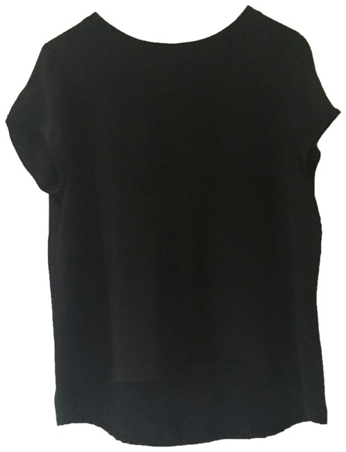 Item - Black Silk Cap Sleeve Tee Blouse Size 8 (M)