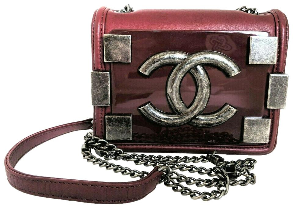 aba1a53015e8 Chanel Lego Boy Brick Plexiglass Flap Mini Burgundy Lambskin Leather Cross  Body Bag