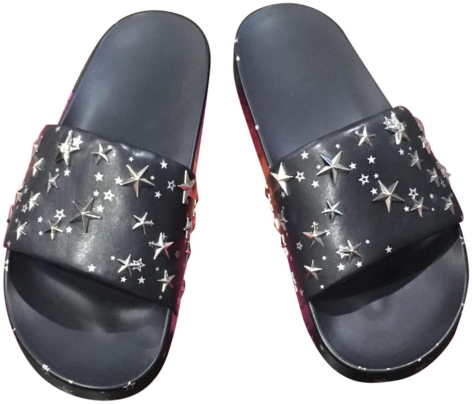 b946ae6f6 Tory Burch Perfect Navy Silver Star Slide Sandals Size US 8 Regular ...