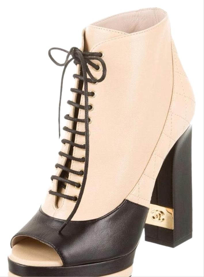 where can i buy new varieties good texture Chanel Beige and Black Heel Open Toe Boots/Booties Size EU 36.5 (Approx. US  6.5) Regular (M, B)