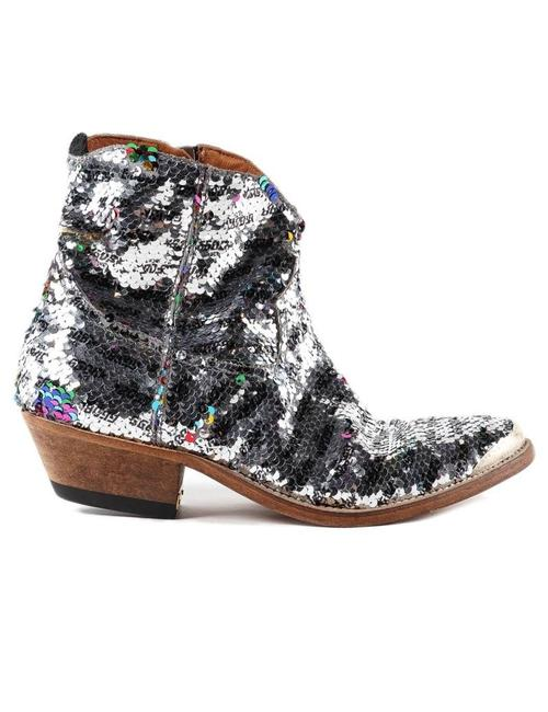 Item - Silver Sequined Coated Cowboy Boots/Booties Size EU 38 (Approx. US 8) Regular (M, B)