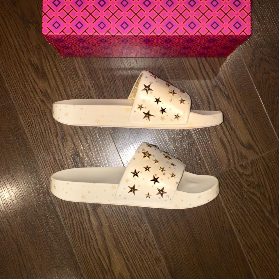 18c5662d0 Tory Burch New Cream Gold 52143 Star Slide Sandals Size US 11 ...