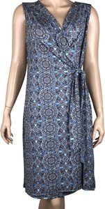 Dana Buchman short dress Blue, White Wrap on Tradesy
