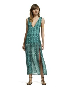 Teal Maxi Dress by ViX Snake Cover Up Cotton Silk