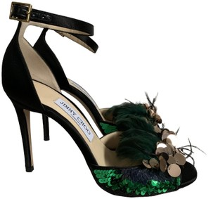 Jimmy Choo Satin Ankle Strap Feather Sequin Black Pumps